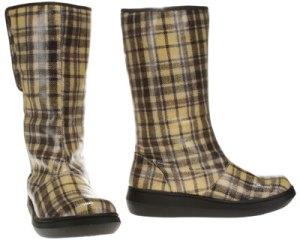 plaid rubber boots